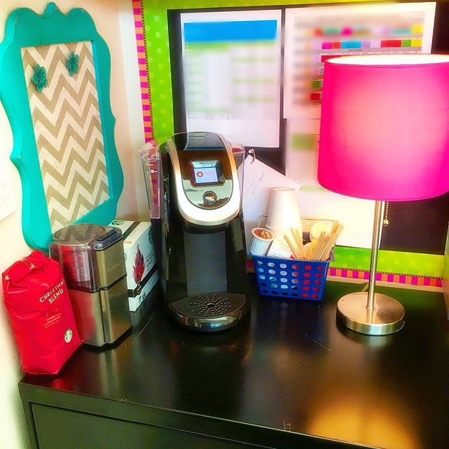 I'm at school today cleaning stuff out!!! Feels so good to purge and get ready for the New Year!!! I received a mini Keurig for Christmas and made myself a coffee station behind my desk!!  I figure, I'm here so many many hours of my life, I better make my room as comfortable as possible to keep my sanity!!! #keurig #classroomcoffeestation @keurig