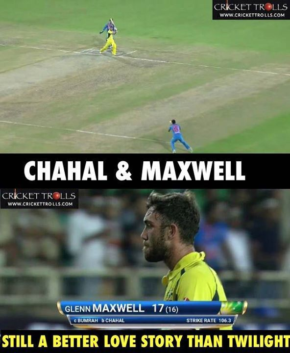 Time changes format changes but Glenn Maxwell's dismissal do not changes. Yuzvendra Chahal picks up Maxi once again! #INDvAUS - http://ift.tt/1ZZ3e4d