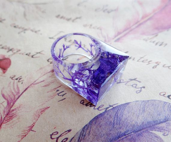 Fantasie ring fairy paarse bloem ring pastel goth ring mos terrarium cocktail ring tiener cadeau hars ring pastel grunge godin occulte violet