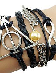 Meerlaagse, handgemaakte leren armbandjes met engelenvleugels, Harry Potter relieken en oneindigheidssymbool