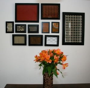 Frame fabric samples for cheap/easy wall art.