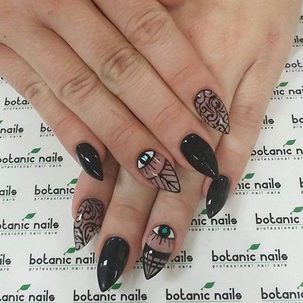 Black and clear polishes nail art design with eye details. Make your tribal inspired black nail polish come to life with alternate clear and black nail polish details.