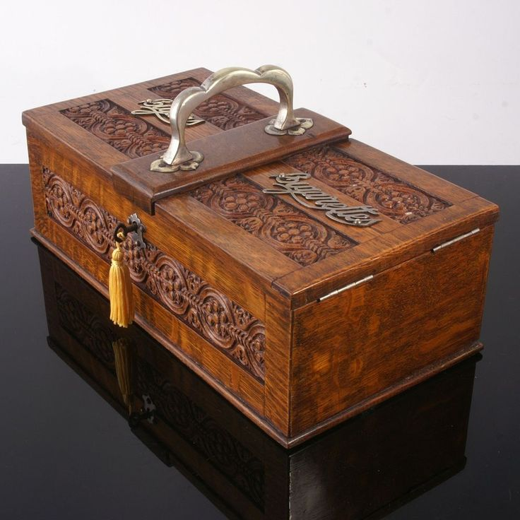 very large antique carved oak cigar humidor - Cigar Humidors