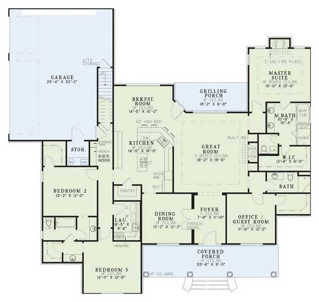 House plan 110 00392 ranch plan 2 556 square feet 4 for 2000 sf ranch house plans