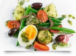 Potato, Green Bean & Egg Salad with  Olives & Salsa Verde