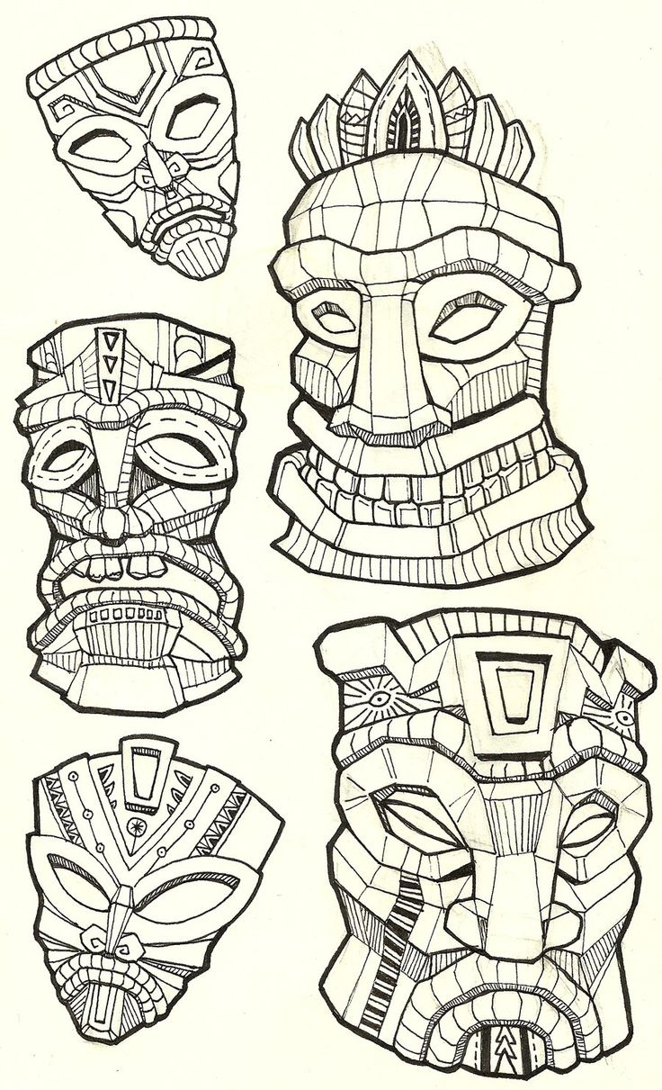 I love Tiki designs, and I really like how the artist use of line to create a 3-dimensional effect on the masks.- Joel G.