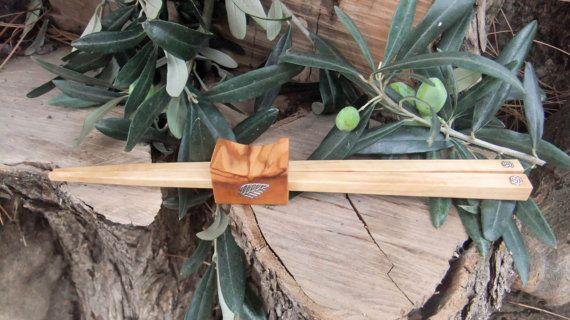 Olive Wood chopstick set with combined holder by ellenisworkshop, $49.00