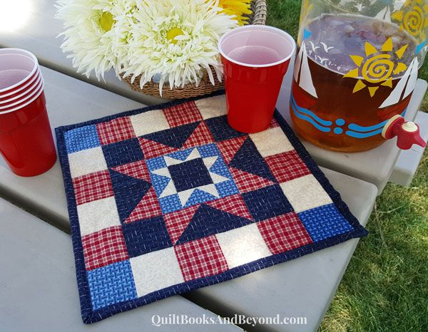 Quick and Easy Fourth of July Quilted Star Block Table Topper | http://quiltbooksandbeyond.com/quick-easy-fourth-july-table-topper/