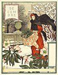 an apron full of mistletoe - perfect for Grasset's depiction for December/ Decembre