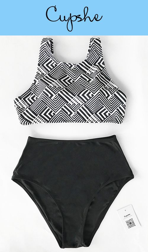 With vacays on the mind we can't help but love Cupshe Hide And Seek Tank Bikini Set. Put chic piece into luggage for ultimate sunny beach vibes! Abstract print & high-waisted design~ Check it out!