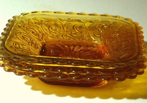 vintage amber glass dishes  early Australian by itsretrodarling, $16.50