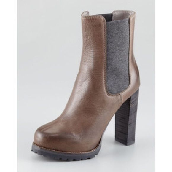 """Brunello Cucinelli Chelsea Boots Brunello Cucinelli perfects the ankle boot with an enduring leather construction set atop a chunky, leg-sculpting heel. Leather upper with stretch gores on both sides. 5 1/2"""" ankle-high shaft. 4 1/2"""" stacked heel with a 1/2"""" platform; 4"""" equiv. Pickstitched midsole. Lugged rubber sole provides traction. Pull-on style. Made in Italy. NEW!! Never worn. Brunello Cucinello Shoes Ankle Boots & Booties"""
