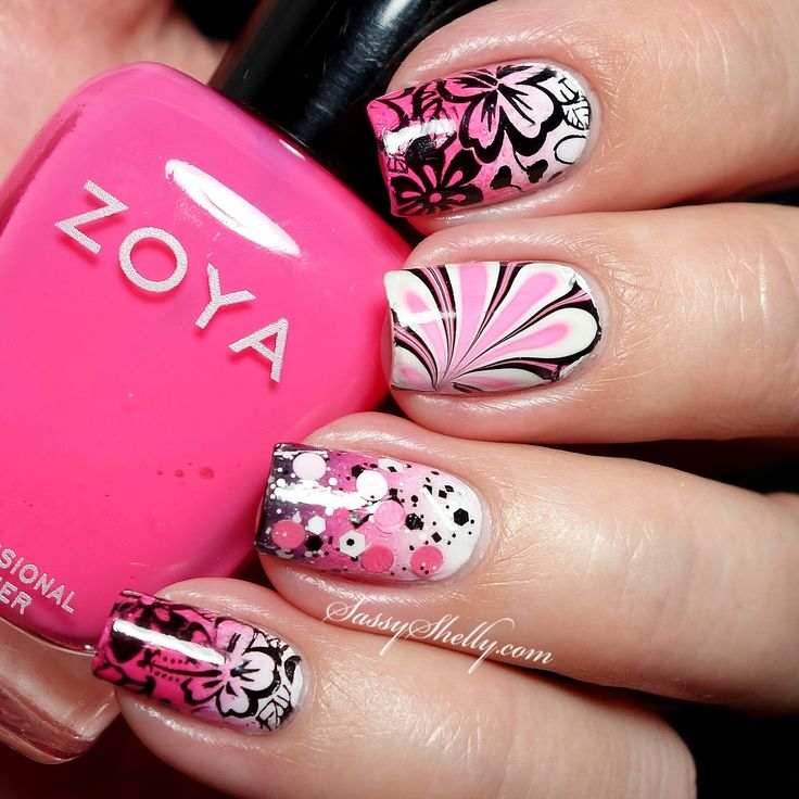 Hawaiian Culture Nail Art - pink, black, white gradient with watermarble accent and floral stamping  |  Sassy Shelly