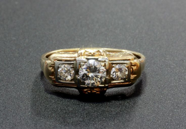 14k vintage three diamond ring 6889 26 consignment for Wedding ring consignment