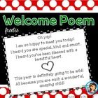 First day of school poem.  Here is a short poem that you can hand out as a gift to your students on the first day of school.    Please contact me i...