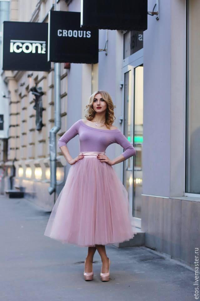 Купить Юбка из еврофатина - бледно-розовый, однотонный, юбка, юбка для девочки, юбка из фатина