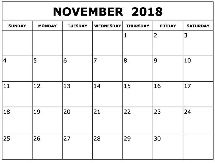 November 2018 Monthly Calendar Calendar Pinterest Calendar