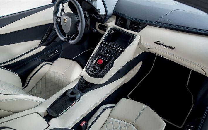 Descargar fondos de pantalla Lamborghini, Aventador, 2018, 4k, interior, blanco, cuero, deportes de interior del coche, coche de carreras, un Lamborghini