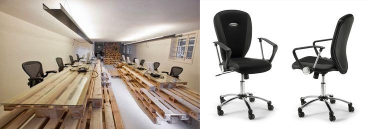 Arredamento da ufficio #creativo con #pallet di #riciclo per le scrivanie e #sedie operative certificate. Acquistale in #offerta #prezzo #outlet su www.chairsoutlet.com