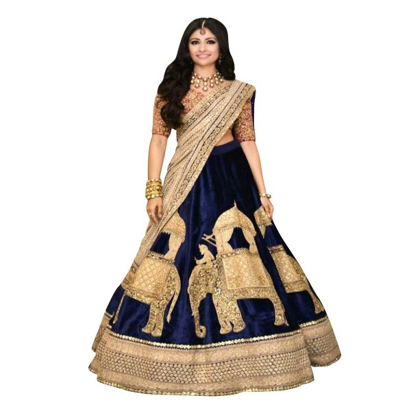 Buy Dark Blue Color Banglori Silk With Heavy Embroidery Work Semi-Stitched Lehenga Choli Online at cheap prices from Shopkio.com: India`s best online shoping site