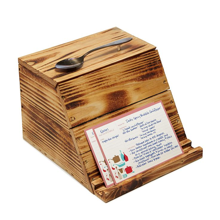 PALLET WOOD RECIPE BOX | reclaimed wood, recipe card holder | UncommonGoods - need it!