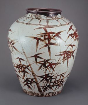Jar, Joseon dynasty (1392–1910), 16th century Korea Porcelain with underglaze iron-brown decoration of bamboo courtesy The National Museum of Korea, Seoul
