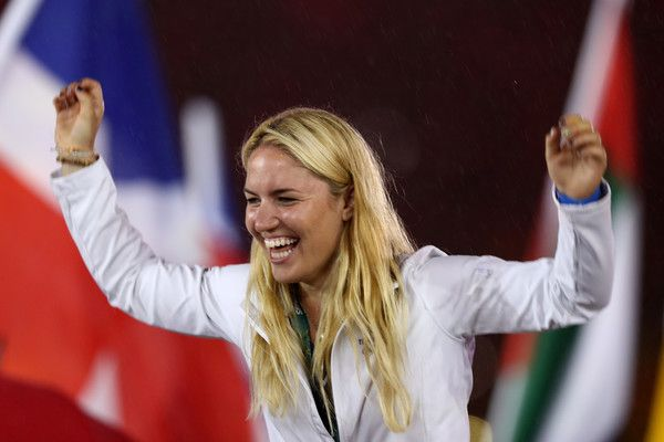 A member of Team Great Britain celebrates during the Closing Ceremony on Day 16 of the Rio 2016 Olympic Games at Maracana Stadium on August 21, 2016 in Rio de Janeiro, Brazil.