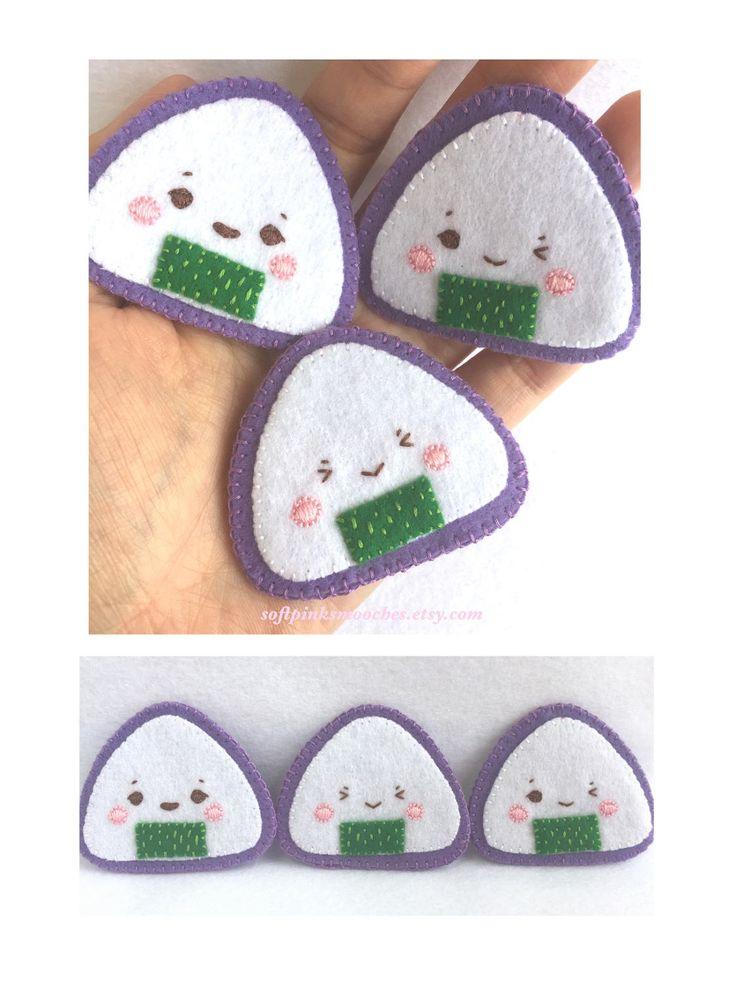 Felt Onigiri Pins   Kawaii Onigiri Accessories   Handmade Kawaii Felt Onigiri Pins by softpinksmooches on Etsy