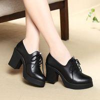 Scarpe di cuoio della Donna Sexy Tacco Alto scarpe A Punta Con Zeppa Scarpe Lace-up Delle Donne Pompe Zapatos Mujer Plataforma Sapatos Femininos tacchi