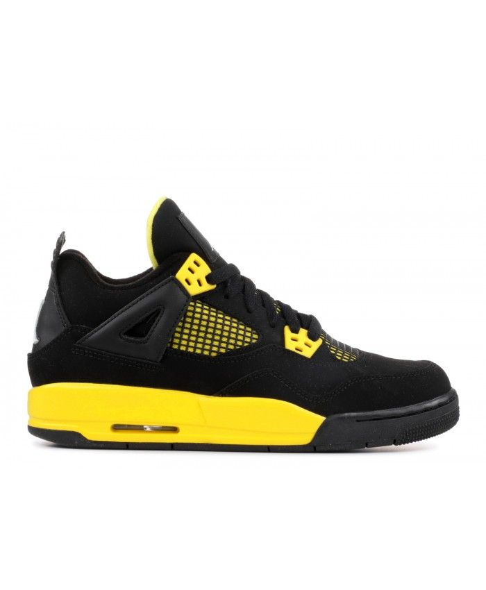 347d36c7a2a383 Nike Air Jordan 4 Retro Gs Thunder Black White Tour Yellow Outlet ...