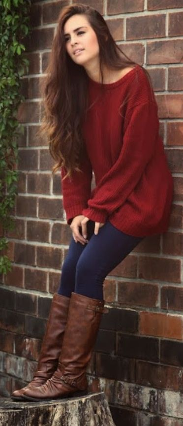 Adorable red sweater, leggings and brown boots for fall