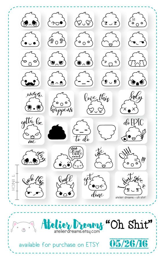 AD-010 OH SHIT!- Planner Stamps (Photopolymer Clear Stamps) poop stamps, kawaii poop, shit stamp, kawaii shit