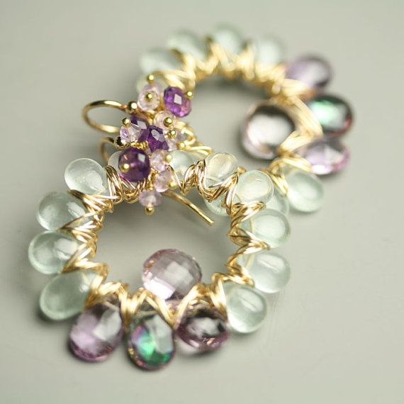 Gemstone Earrings Aquamarine Amethyst Mystic Topaz by fussjewelry