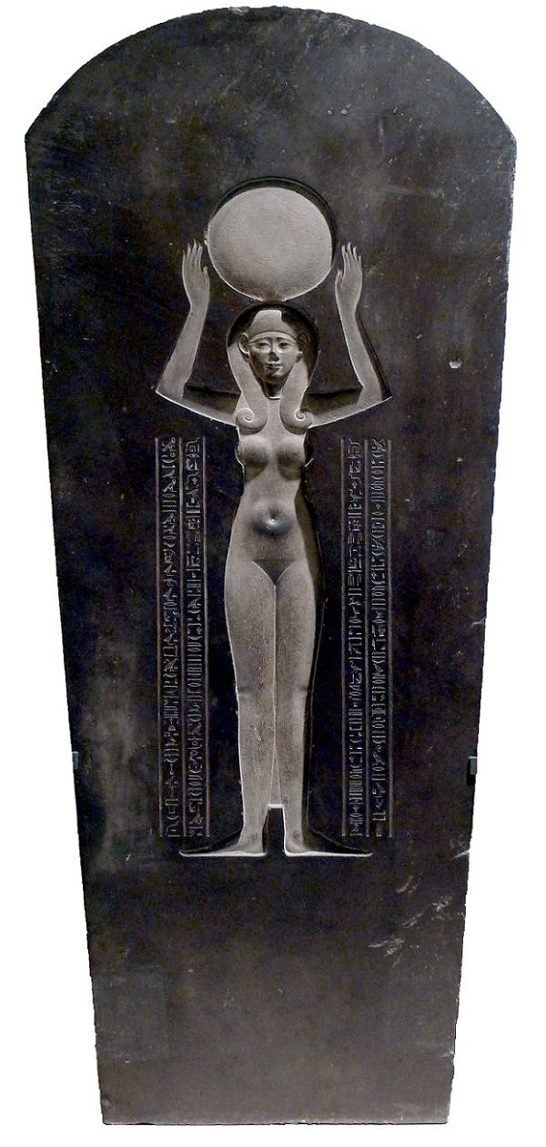The goddess Nut on the cover (inside) of the sarcophagus Djedhor - Louvre Museum. Nut (/nʌt/ or /nuːt/) or Neuth (/nuːθ/ or /njuːθ/; also spelled Nuit or Newet) was the goddess of the sky in the Ennead of Egyptian mythology. She was seen as a star-covered nude woman arching over the earth, or as a cow.