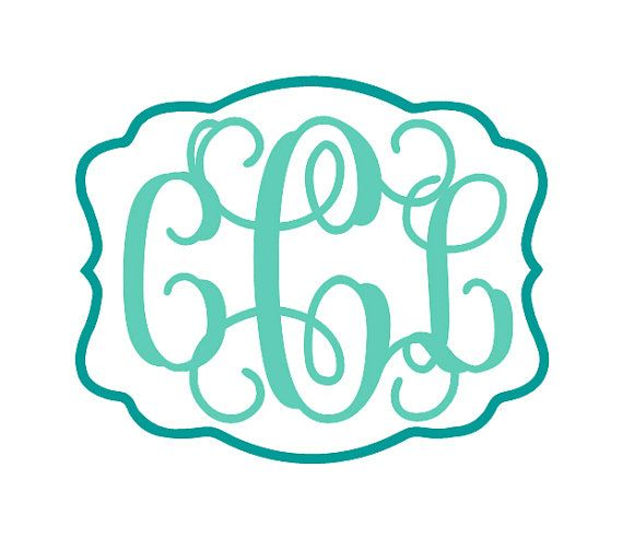 Personalized Vine Monogram Decal with Rectangle Scalloped Border. Monogram letters are wildly popular, and this vinyl decal is gorgeous. Use