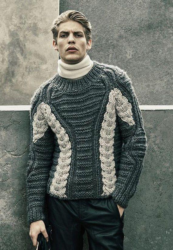 Men's Hand Knitted Crew neck Sweater XS,S,M,L,XL,XXL Wool