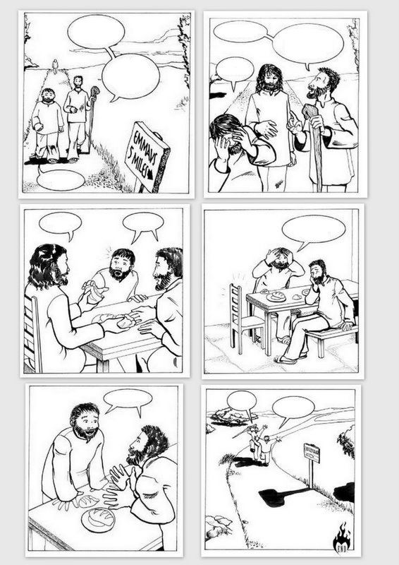 Road to Emmaus empty comic, I found this comic online, and select several…