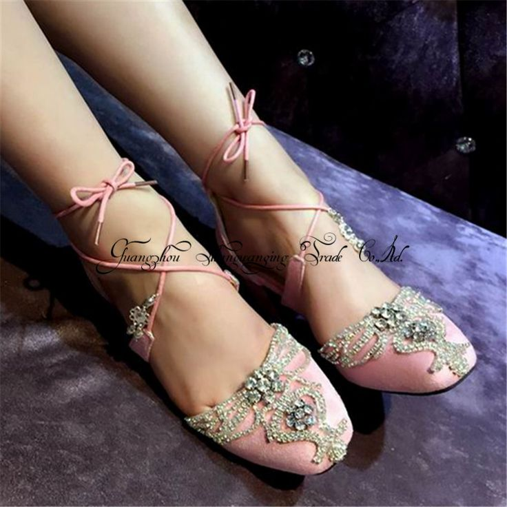 New Cute Rhinestone Thick High Heels Women Wedding Shoes Lace Up Gladiator Sandals Pink Suede Women Pumps Valentine Shoes Woman