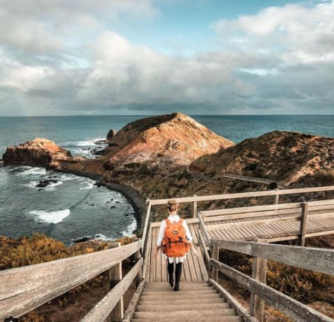 Cape Shanck boardwalk. 30 things to do in Mornington Peninsula, Victoria, Australia. Part of the Sydney to Melbourne coastal drive, an east coast road trip. We list the best beach camping and things to do.