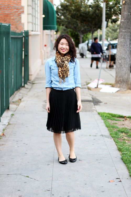 chambray, leopard, black pleated skirt