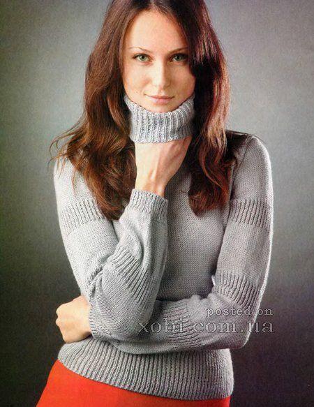 серый свитер спицами