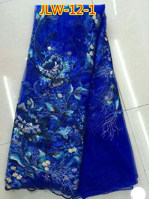 Цветочный узор вышивки органзы кружевной ткани причудливые узоры Французский шнурок ткани 5 ярдов в серию JLW-12