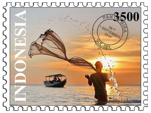 Cara membuat desain perangko dengan Photoshop.