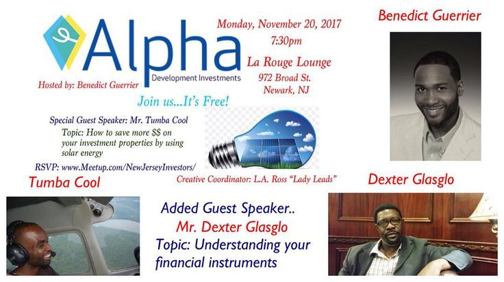 Join Us..Its Free! 11.20.17 RSVP: http://ift.tt/2jGZRFc (900 members have already) Special Guest Speaker: Mr. Tumba Cool Saving your properties money using solar power energy and Guest Speaker: Dexter Glasglo Understanding your financial instruments #realestate #newarknj #newark #jerseycitynj #jerseycity #brooklyn #brooklynny #newyork #newyorkinvestors #newjersey #newjerseyinvestors #firsttimehomebuyer #propertymanagement #investmentproperty #flippinghouses #solarenergy #setgoals…