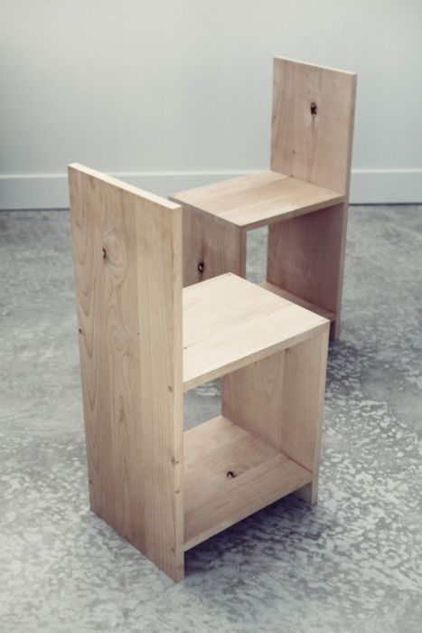 Chairs made by Evan Hecox inspired by Donald Judd