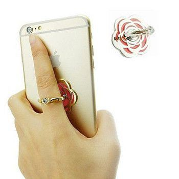 Universal Ring Finger Stand For Smartphones (Rose Design) - No More Dropping your Phone!