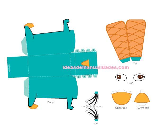 perry el ornitorrinco para armar en papel