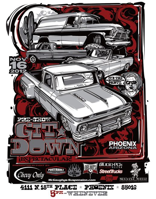 T-shirts and posters I designed for a local car show and party.