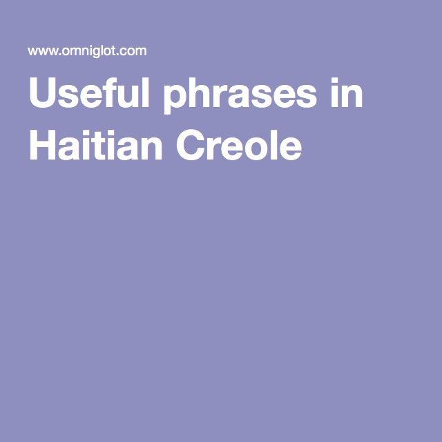 Useful phrases in Haitian Creole