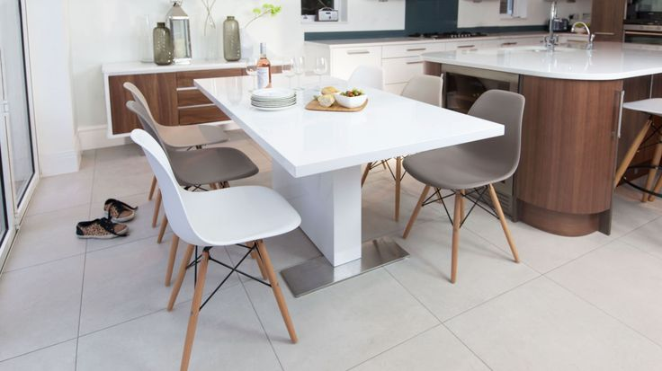 Contemporary White Gloss Extending Dining Table and Eames Chairs (FROM £645.00)